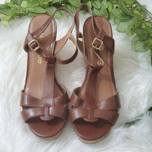 Franco Sarto Women's Upper Leather Wedge Sandal